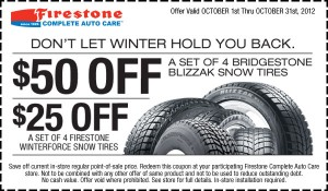 Firestone Winter Tire Coupon