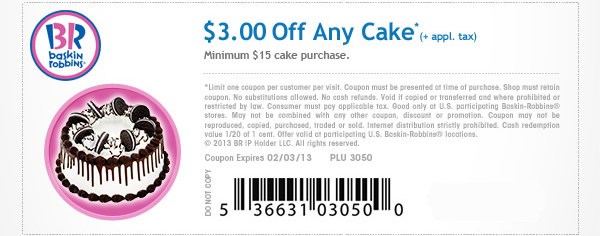graphic about Baskin Robbins Printable Coupons called Baskin Robbins Discount coupons 2013 Consequently A lot of Savings