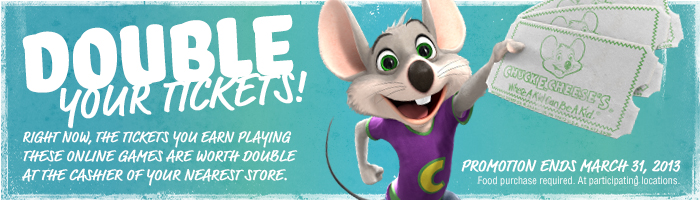 Chuck E Cheese Double Tickets