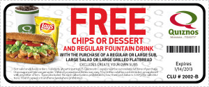 Quiznos free chips or dessert coupon - exp Jan 14 2013