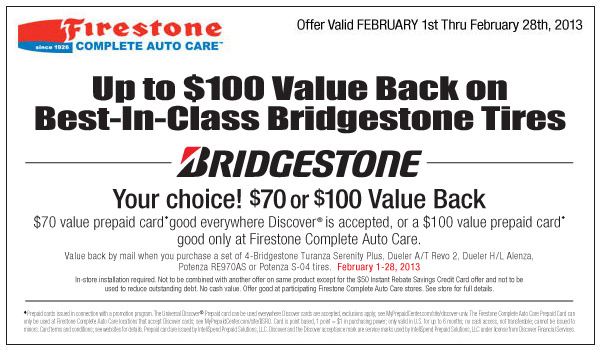 Bridgestone coupons discounts