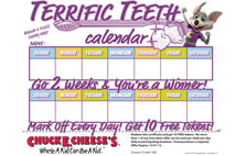 Chuck E Cheese free token reward calendar