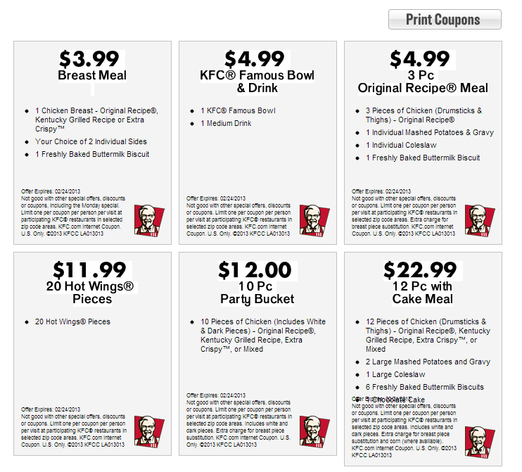 Kfc deals coupons
