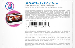 dunk k cup pack coupon