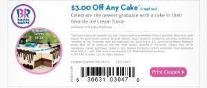 Baskin Robbins Graduation Cake Coupon