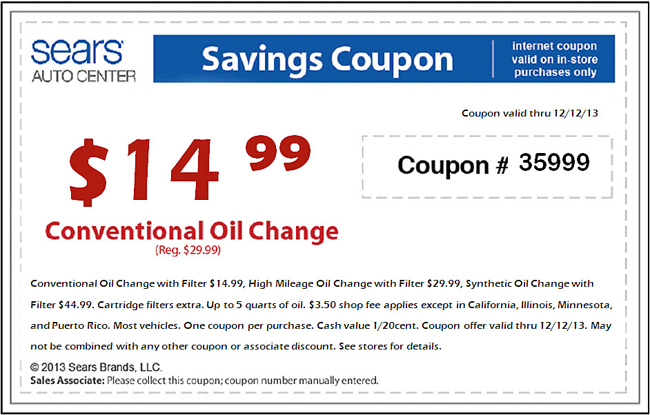 Sears Oil Change Coupons Sears Oil Change Coupons Find all the latest coupons and deals for the Sears Auto Center at this link. You can save almost $10 off your oil change, but there are many other coupons available as well. Sears Auto Center Coupons: Check out the Sears Auto Center page to find out what services are available now.