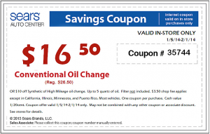 Sears 2014 Oil Change Coupon