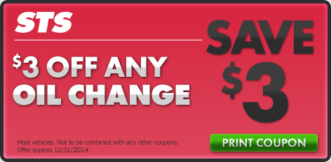 STS Oil Change Coupons