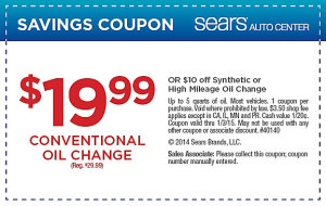 $19..99 conventional or $10 off synthetic oil change coupons