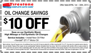 Firestone 2015 April oil change coupon