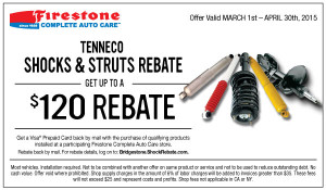 Firestone coupon for Shocks and/or Struts